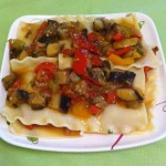 Лазанья с овощным рагу, без масла