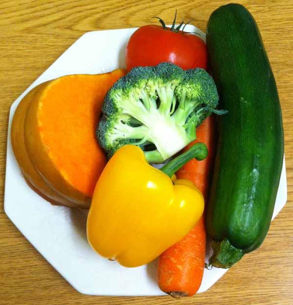 Овощи: тыква, кабачок, морковь, болгарский перец, брокколи, помидор