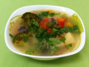 Суп овощной с грибами.