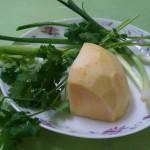 Салат из репы ( турнепса, брюквы), с сельдереем и зеленым луком.