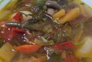 Суп овощной, с белой фасолью, репой и грибами