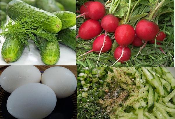 Редис, огурцы, зелень, яйца