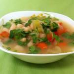 Суп без масла, с белой фасолью и грибами