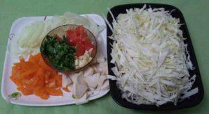 капуста, лук,болгарский перец, эринги,помидор, чеснок