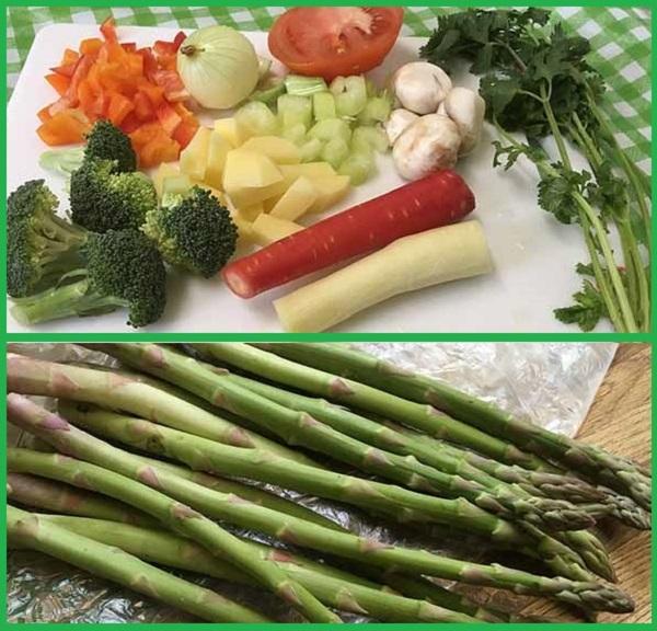 картофель, брокколи, морковь, лук, сельдерей, спаржа